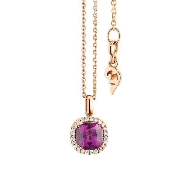 "Anhänger ""Espressivo"" 750RG, Granat Royal Purple antik 6.0 x 6.0 mm ca. 1.00ct, 24 Diamanten Brillant-Schliff 0.07ct TW/si"
