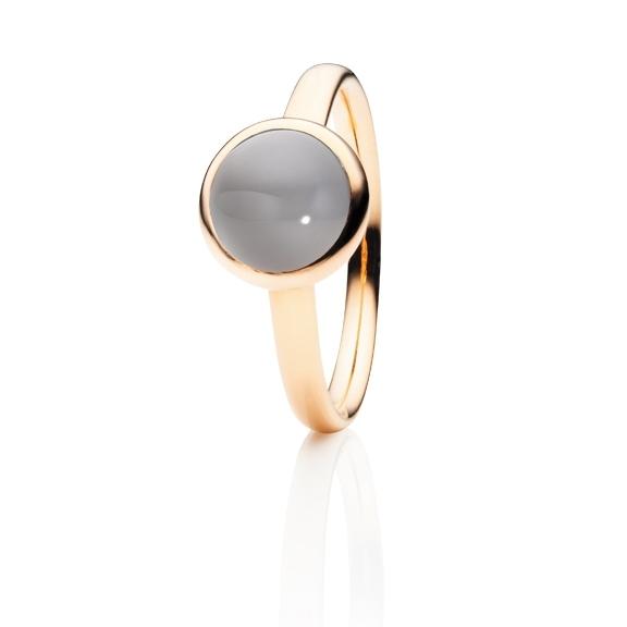 "Ring ""Velluto"" 750RG, Mondstein grau hell Cabochon Ø 8.0 mm ca. 2.0ct"