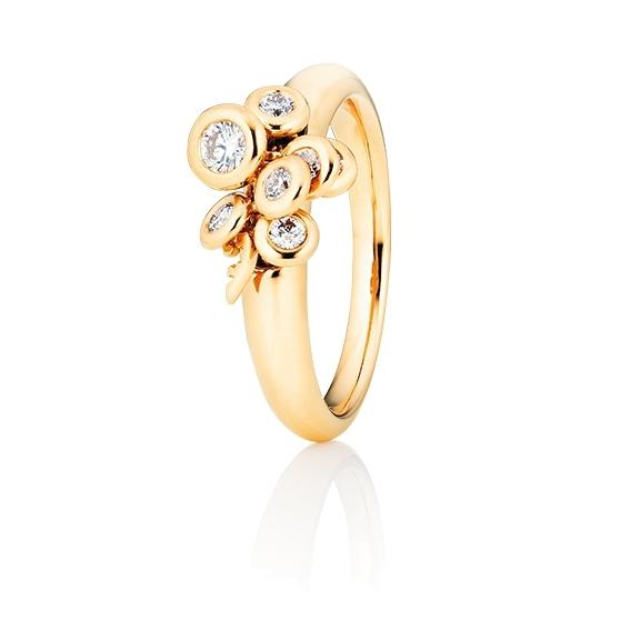 """Ring """"Prosecco"""" 750GG, 7 Diamanten Brillant-Schliff 0.33ct TW/vs1, mit beweglichen Elementen"""