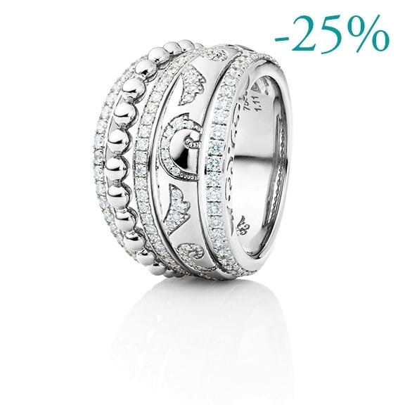"""Ring """"Sérail"""" 750WG, 128 Diamanten Brillant-Schliff 1.05ct TW/vs"""