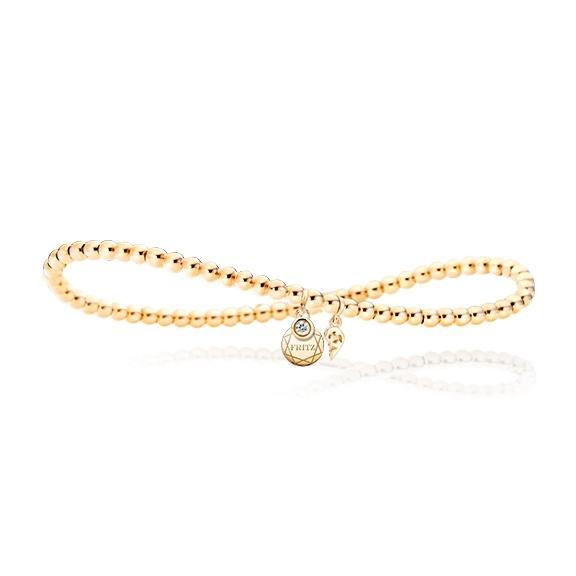"""Armband """"Poesia"""" flexibel 750GG, mit personalisierbaren runden Tag, 1 Diamanten Brillant-Schliff 0.025ct TW/vs1, Innenumfang 17.0 cm"""