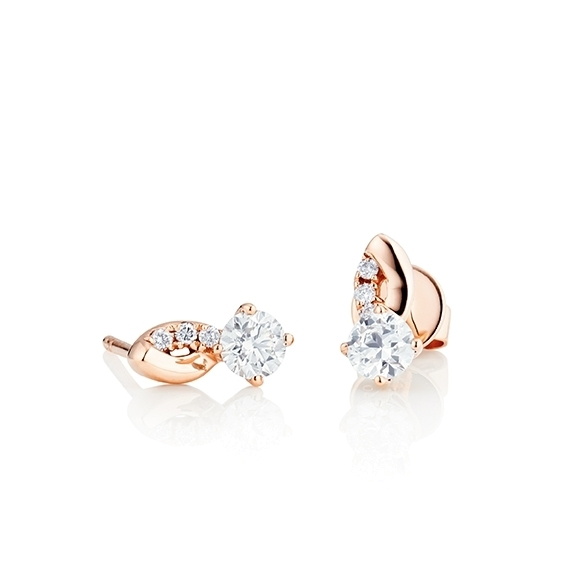 "Ohrstecker ""Romantic"" 750RG 4-er Krappe, 2 Diamanten Brillant-Schliff 0.30ct TW/vs1, 6 Diamanten Brillant-Schliff 0.06ct TW/vs1"