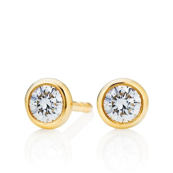 """Ohrstecker """"Classico"""" 750GG Zargenfassung, 2 Diamanten Brillant-Schliff 1.00ct TW/si"""