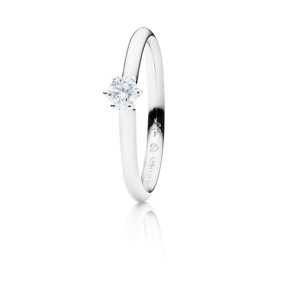 "Ring ""Diamante in Amore"" 750WG 6-er Krappe, 1 Diamant Brillant-Schliff 0.20ct TW/vs1, 1 Diamant Brillant-Schliff 0.005ct TW/vs1"