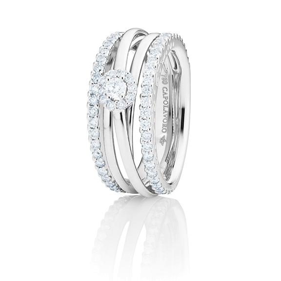 """Ring """"Magnifico"""" 750WG, 1 Diamant Brillant-Schliff 0.10ct TW/si, 70 Diamanten Brillant-Schliff 1.00ct TW/si"""