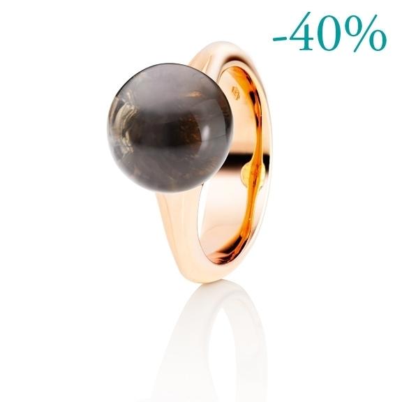 "Ring ""Dei Fiori"" 750RG, Rauchquarz Cabochon ca. 7.00ct"