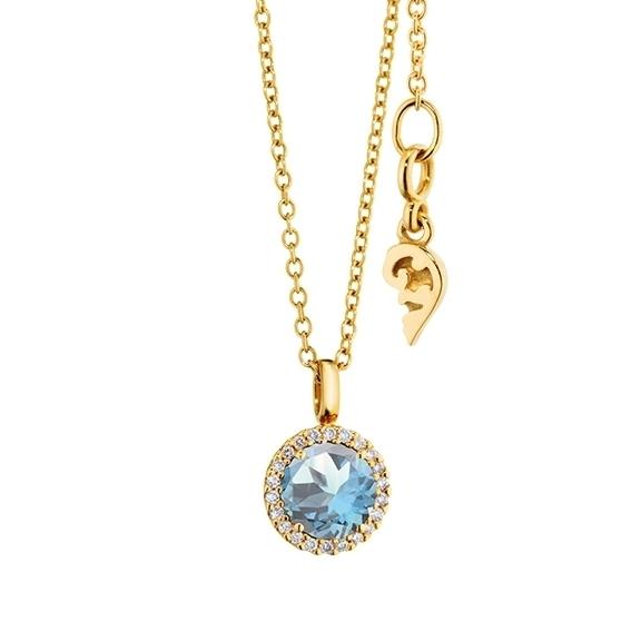 "Anhänger ""Espressivo"" 750GG, Topas sky blue facettiert Ø 6.0 mm, 22 Diamanten Brillant-Schliff 0.06ct TW/si1"