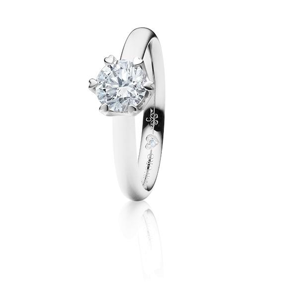 """Ring """"True Love"""" 750WG 6-er Krappe mit seitl. RG-Herz, 1 Diamant Brillant-Schliff 0.75ct TW/vs1 GIA Zertifikat, 1 Diamant Brillant-Schliff 0.005ct TW/vs1"""