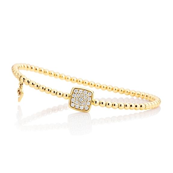 """Armband """"Dolcini Quadrat"""" 750GG, 21 Diamanten Brillant-Schliff 0.29ct TW/vs, Innenumfang 17.0 cm"""