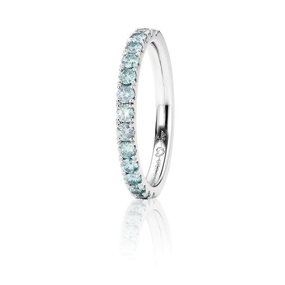 """Memoirering """"Diamante in Amore"""" 750WG, 15 Diamanten Brillant-Schliff 0.60ct ice-blue beh., 1 Diamant Brillant-Schliff 0.005ct TW/vs1"""