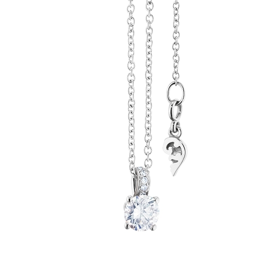 "Collier ""Diamante in Amore"" 750WG 4-er Krappe, Brillantschlaufe, 1 Diamant Brillant-Schliff 0.30ct TW/vs1, 5 Diamanten Brillant-Schliff 0.02ct TW/vs1, Länge 45.0 cm, Zwischenöse bei 42.0 cm"