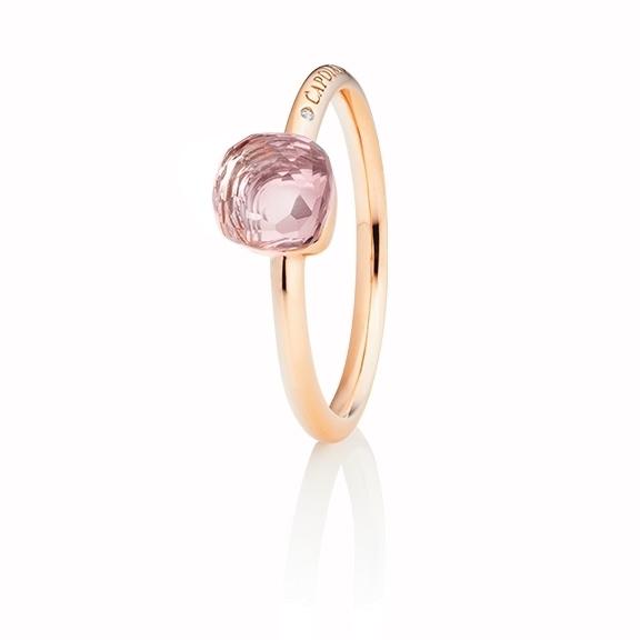 """Ring """"Happy Holi"""" 750RG, Rosenquarz Cabochon  6.0 x 6.0 mm facettiert ca. 1.30ct, 1 Diamant Brillant-Schliff 0.004ct TW/vs1"""