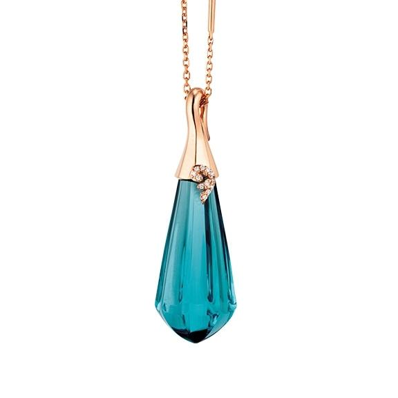 """Collier """"My Sunshine"""" 750RG, Topas London blue Cabochon  27.70 x 10.90 mm facettiert mit Ankerkette Länge 45cm, Zwischenöse bei 42cm"""