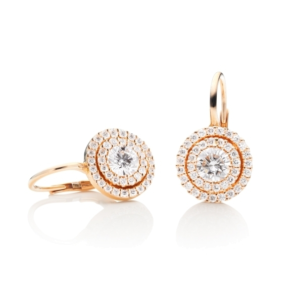 "Ohrhänger ""Brillantissimo 3"" 750RG, 2 Diamanten Brillant-Schliff 0.50ct TW/si, 78 Diamanten Brillant-Schliff 0.32ct TW/si"