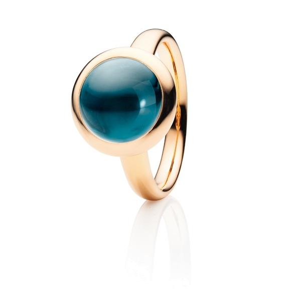 """Ring """"Velluto"""" 750RG, Topas London blue Cabochon Ø 11.0 mm ca. 6.4ct"""