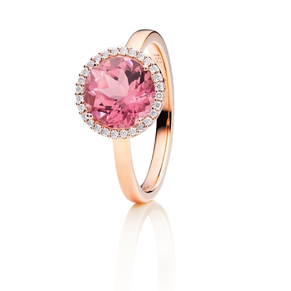 "Ring ""Espressivo"" 750RG, Turmalin pink facettiert Ø 9.0 mm ca. 2.50ct, 28 Diamanten Brillant-Schliff 0.10ct TW/si"