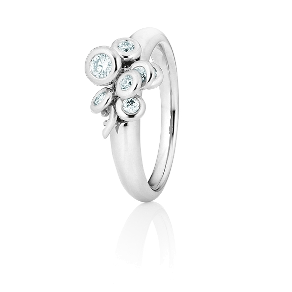 """Ring """"Prosecco"""" 750WG, 7 Diamanten Brillant-Schliff 0.33ct TW/vs1, mit beweglichen Elementen"""