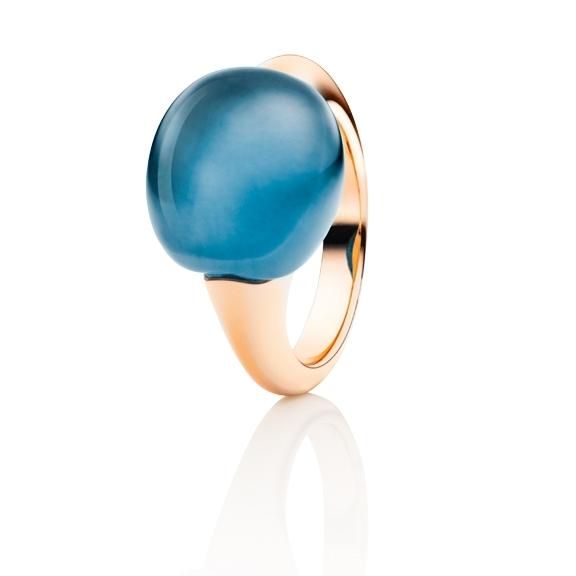 "Ring ""Tramonto"" 750RG, Topas London blue Cabochon ca. 19.0ct"