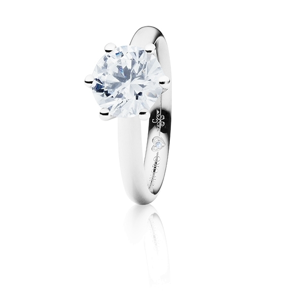 "Ring ""Diamante in Amore"" 750WG 6-er Krappe, 1 Diamant Brillant-Schliff 1.50ct TW/vs1 GIA Zertifikat, 1 Diamant Brillant-Schliff 0.005ct TW/vs1"