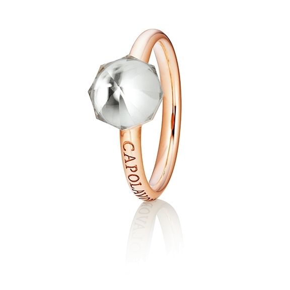 "Ring ""My Sunshine"" 750RG, Bergkristall Cabochon facettiert  8.90 x 8.90mm ca. 2.50ct, 1 Diamant Brillant-Schliff 0.004ct TW/vs1"