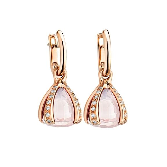 """Ohrcreolen """"Capriccio"""" 750RG, Rosenquarz ca. 11.00ct, 28 Diamanten Brillant-Schliff 0.44ct TW/vs"""