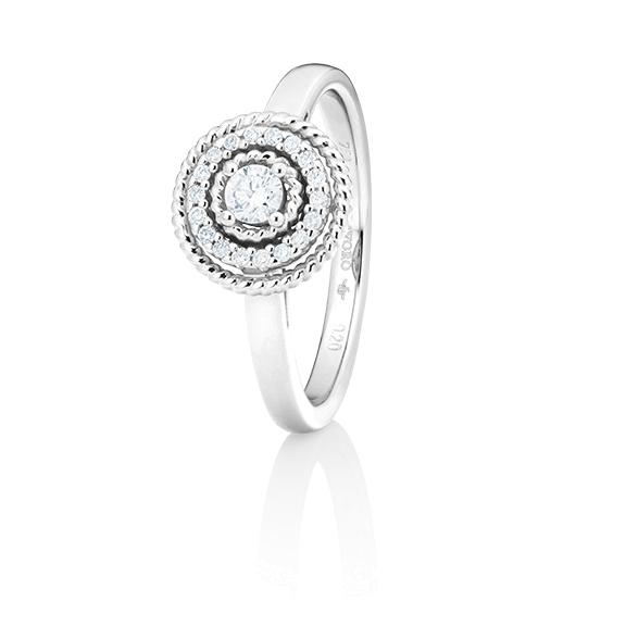 "Ring ""Amore mio"" 750WG, 19 Diamanten Brillant-Schliff 0.20ct TW/si"