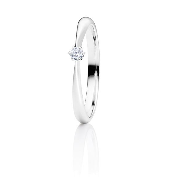 """Ring """"Classico"""" 750WG 6-er Krappe, 1 Diamant Brillant-Schliff 0.05ct TW/si"""