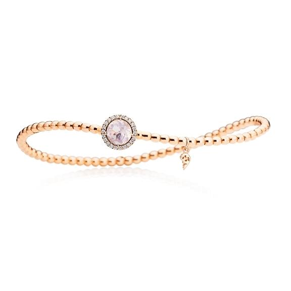 """Armband """"Espressivo"""" 750RG, Rosenquarz facettiert Ø 6.0 mm ca. 0.70ct, 22 Diamanten Brillant-Schliff 0.06ct TW/si1, Innenumfang 17.0 cm"""