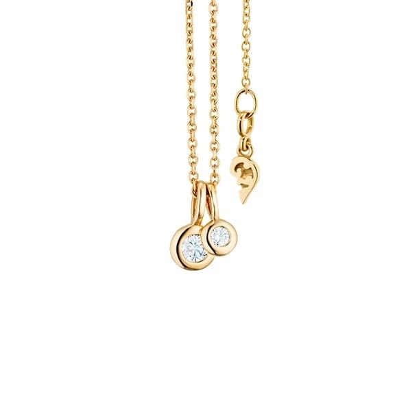 """Collier """"Prosecco"""" 750GG, 2 Diamanten Brillant-Schliff 0.13ct TW/vs1, Länge 45cm, Zwischenöse bei 42cm"""