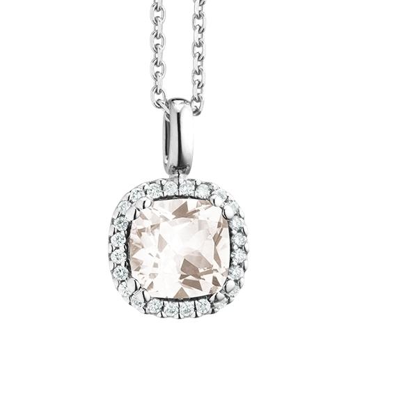 """Anhänger """"Espressivo"""" 750WG, Topas weiss antik 6.0 x 6.0 mm, 24 Diamanten Brillant-Schliff 0.09ct TW/si"""