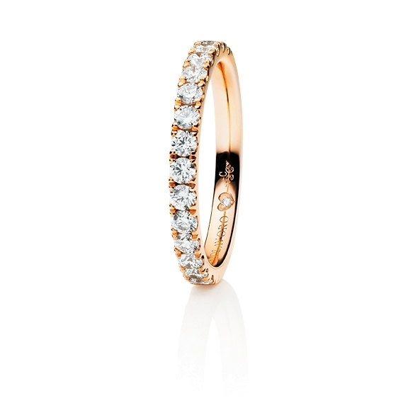 "Memoirering ""Diamante in Amore"" 750RG, 15 Diamant Brillant-Schliff 0.60ct TW/vs1, 1 Diamant Brillant-Schliff 0.005ct TW/vs1"