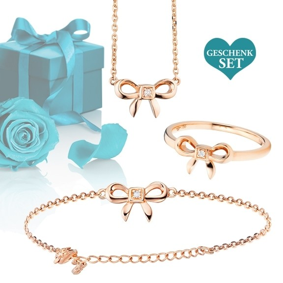 """Geschenkset """"Loop"""", Armband, Ring und Halskette 750RG, 3 Diamanten Brillant-Schliff"""