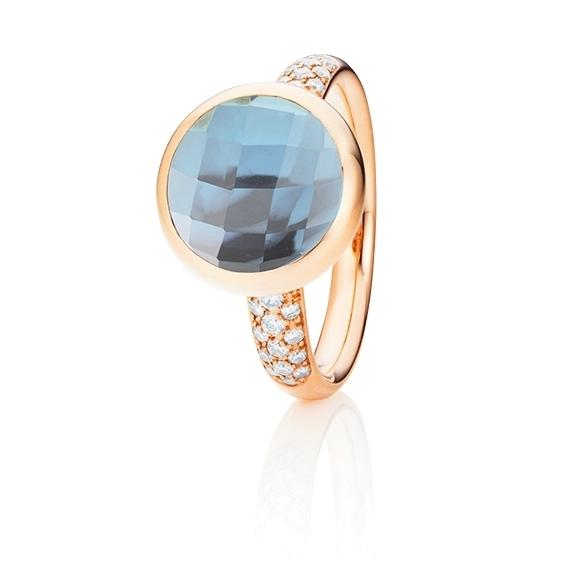 "Ring ""Velluto"" 750RG, Topas sky blue Cabochon facettiert Ø 11mm ca. 6.0ct, Pavé 30 Brillanten 0,26ct TW/vs"