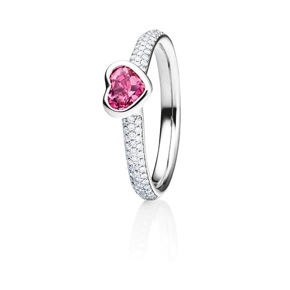 "Ring ""Pure Love"" 750RG Herz, Turmalin pink facettiert 5.6 x 4.8 mm ca. 0.50ct, 80 Diamanten Brillant-Schliff 0.24ct TW/vs"