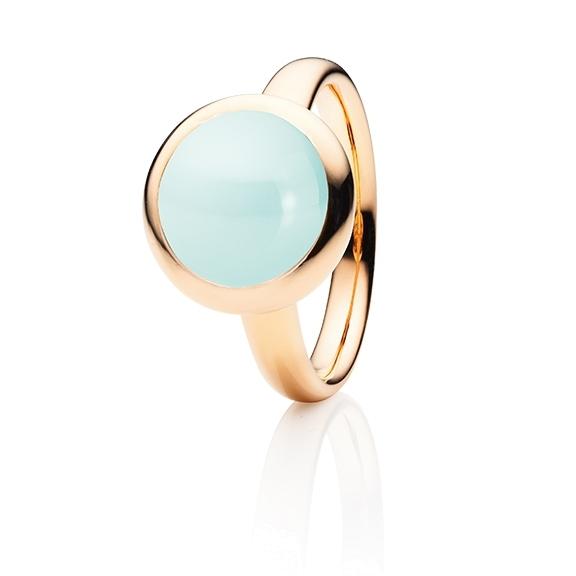 """Ring """"Velluto"""" 750RG, Chalcedon grün Cabochon Ø 11.0 mm ca. 5.00ct"""
