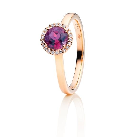 "Ring ""Espressivo"" 750RG, Granat Royal Purple facettiert Ø 6.0 mm ca. 0.80ct, 22 Diamanten Brillant-Schliff 0.06ct TW/si"