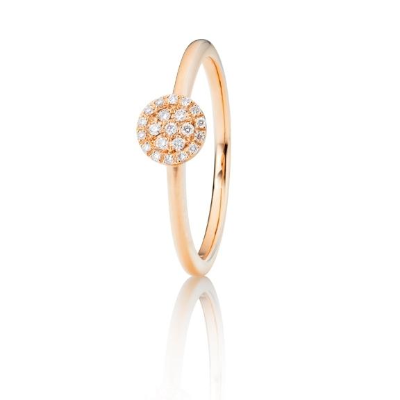"Ring ""Dolcini"" 750RG, 21 Diamanten Brillant-Schliff 0.10ct TW/vs"