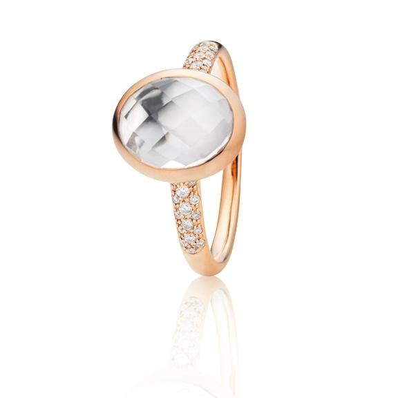 "Ring ""Velluto"" 750RG, Bergkristall facettiert 10.0 x 8.0 mm ca. 2.0ct, 30 Diamanten Brillant-Schliff 0.09ct TW/vs"