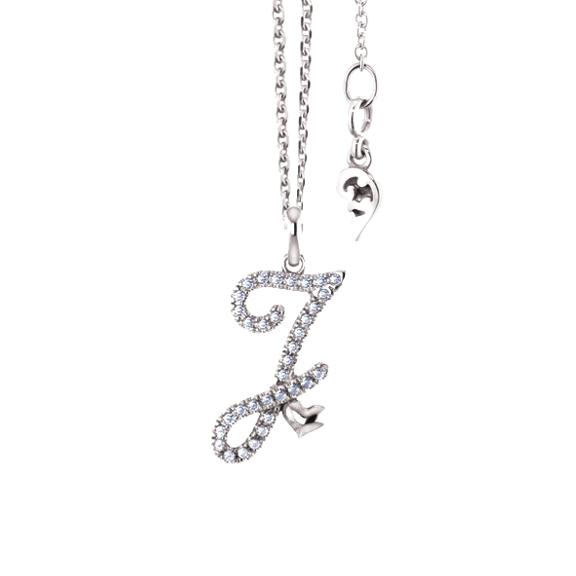 """Anhänger """"Poesia"""" 750WG, Buchstabe """"J"""", 34 Diamanten Brillant-Schliff 0.13ct TW/vs"""