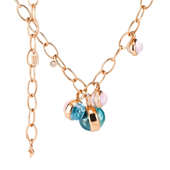 "Collier ""Velluto Highlight"" 750RG, 2 Topas sky blue Cab., 1 Topas London blue Cab., 3 Rosenquarz Cab., 1 Opal pink Cab., 69 Diamanten Brillant-Schliff 0.60ct TW/vs1, ca. 43.5 cm"