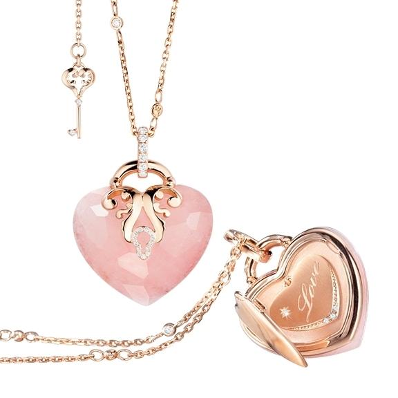 "Collier ""Love Message"" limitierte Edition 750RG, 1 Milchquarz rosa facettiert, 39 Diamanten Brillant-Schliff 0.53ct TW/vs1, Länge Collier 70.0cm, Länge Armband 19.0cm"