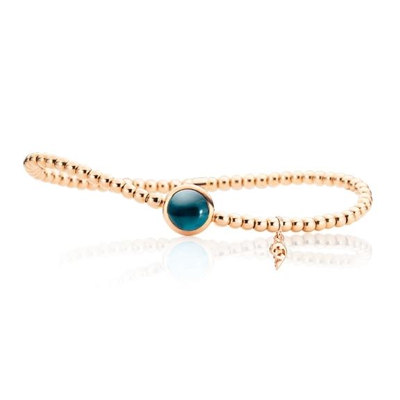 "Armband ""Velluto"" 750RG, Topas London blue Cabochon Ø 8.0 mm ca. 2.90ct, Innenumfang 17.0 cm"