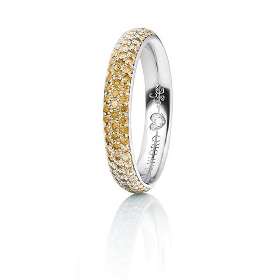 """Ring """"Diamante in Amore"""" 750WG Pavé Farbverlauf, 30 Diamanten 0.28ct canary beh., 24 Diamanten 0.20ct gold beh., 22 Diamanten 0.20ct light braun, 1 Diamanten  0.005ct TW/vs1"""