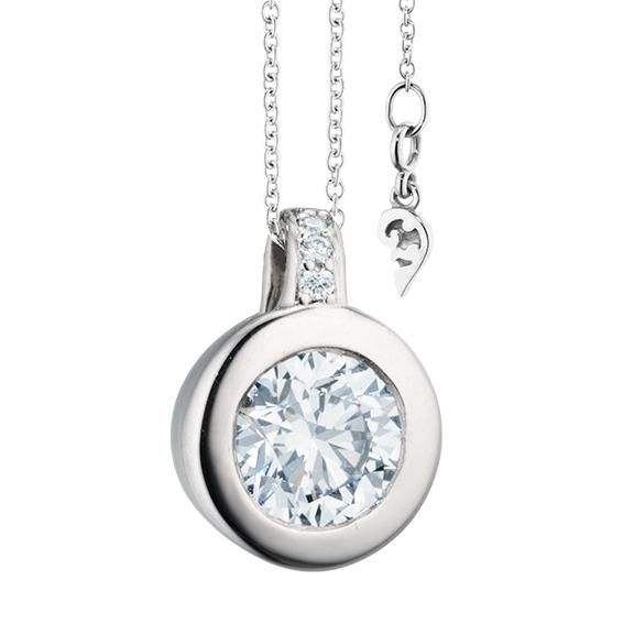 """Collier """"Diamante in Amore"""" 750WG Zargenfassung, Brillantöse, 1 Diamant Brillant-Schliff 1.50ct TW/vs1 GIA Zertifikat, 5 Diamanten Brillant-Schliff 0.04ct TW/vs1, Länge 45.0cm, Zwischenöse bei 42.0cm"""