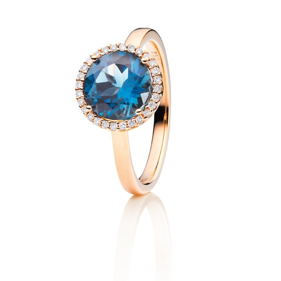 "Ring ""Espressivo"" 750RG, Topas London blue facettiert Ø 9.0 mm, 28 Diamanten Brillant-Schliff 0.10ct TW/si"
