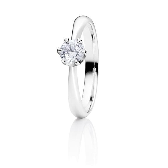 "Ring ""Classico"" 750WG 6-er Krappe, 1 Diamant Brillant-Schliff 0.50ct TW/si1 GIA Zertifikat"