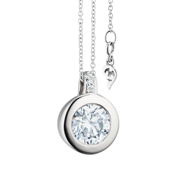 """Collier """"Diamante in Amore"""" 750WG Zargenfassung, Brillantschlaufe, 1 Diamant Brillant-Schliff 1.00ct TW/vs1 GIA Zertifikat, 5 Diamanten Brillant-Schliff 0.03ct TW/vs1, Länge 45.0 cm, Zwischenöse bei 42.0 cm"""