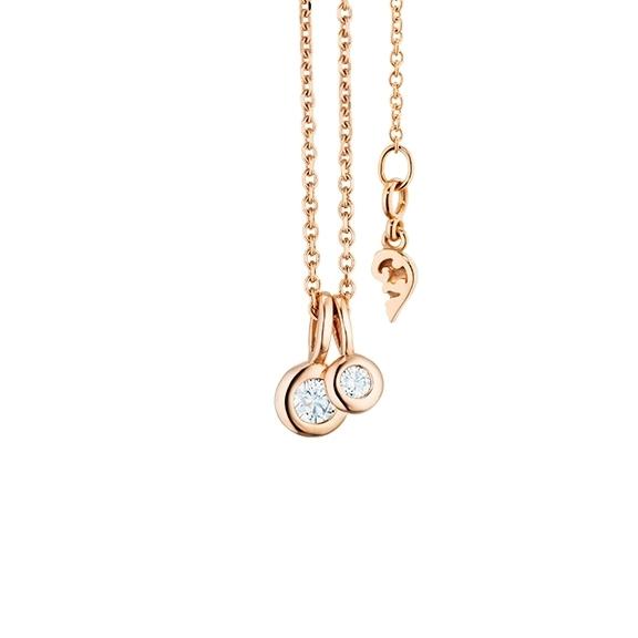 """Collier """"Prosecco"""" 750RG, 2 Diamanten Brillant-Schliff 0.13ct TW/vs1, Länge 45cm, Zwischenöse bei 42cm"""