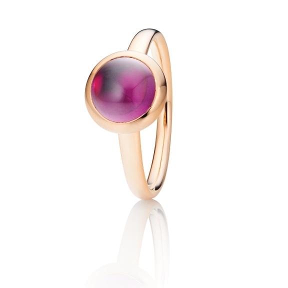 "Ring ""Velluto"" 750RG, Granat Royal Purple Cabochon Ø 8.0 mm ca. 2.5ct"