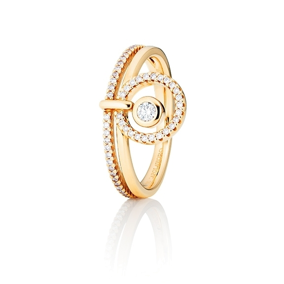 "Ring ""Glam Motion"" 750GG, 1 Diamant Brillant-Schliff 0.075ct TW/si, 56 Diamanten Brillant-Schliff 0.195ct TW/si"
